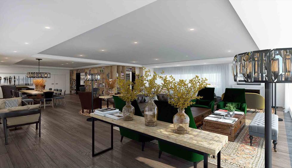 הלבשת הסוויטה והטרקלין, יוצרים אקלקטיות עדינה שמשקפת את המיזוג בין הסביבה שעוטפת את המלון, עם המסורת רבת השני, הדמיה Ando Studio
