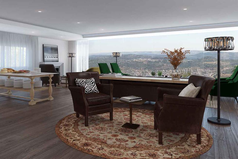 הנוף הנגלה מהחלונות נשאר השחקן המרכזי בסיפור, גורדוניה - מלון מעלה החמישה, הדמיה: Ando Studio