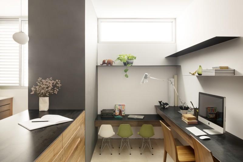 שימוש בצבע גרפיט להדגשת קירות מיוחדים, אדריכל גל טבת, צילום: גדעון לוין